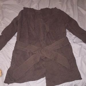 Brown Lucky brand tie-front sweater